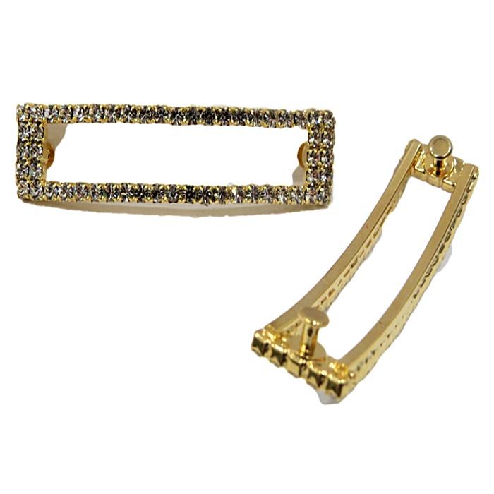 Piercing Retângulo vazado dourado (Par)- PID041