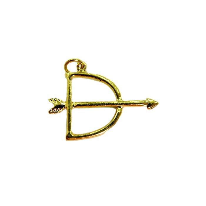 Pingente ferramenta Pequena arco e flecha  orixá dourada- PFD005