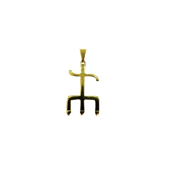 Pingente ferramenta tridente exu orixá dourada- PFD006