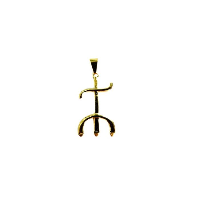 Pingente ferramenta tridente pomba gira orixá dourada- PFD007