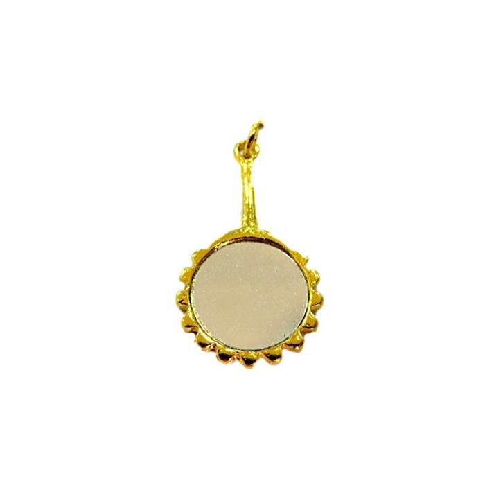 Pingente ferramenta espelho de vidro orixá dourado- PFD008