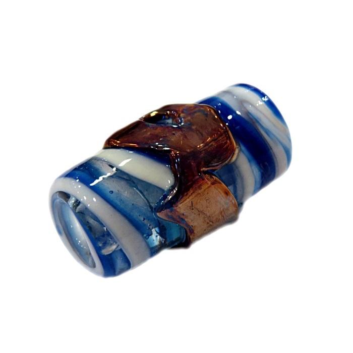 Firma de murano GG cobre\ azul royal\ branco- FM174