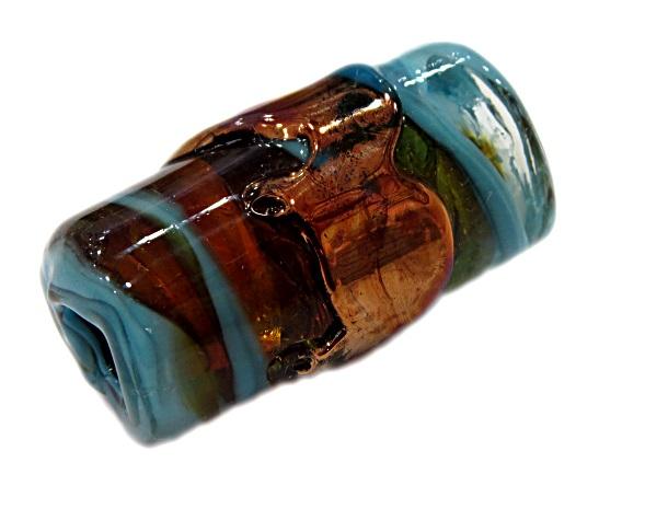 Firma de murano GG cobre\ azul turquesa\ ambar- FM188