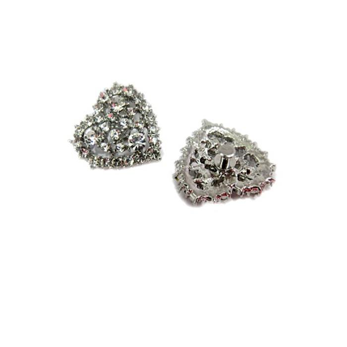 Piercing Coração níquel II Strass Boreal (Par)- PIN35