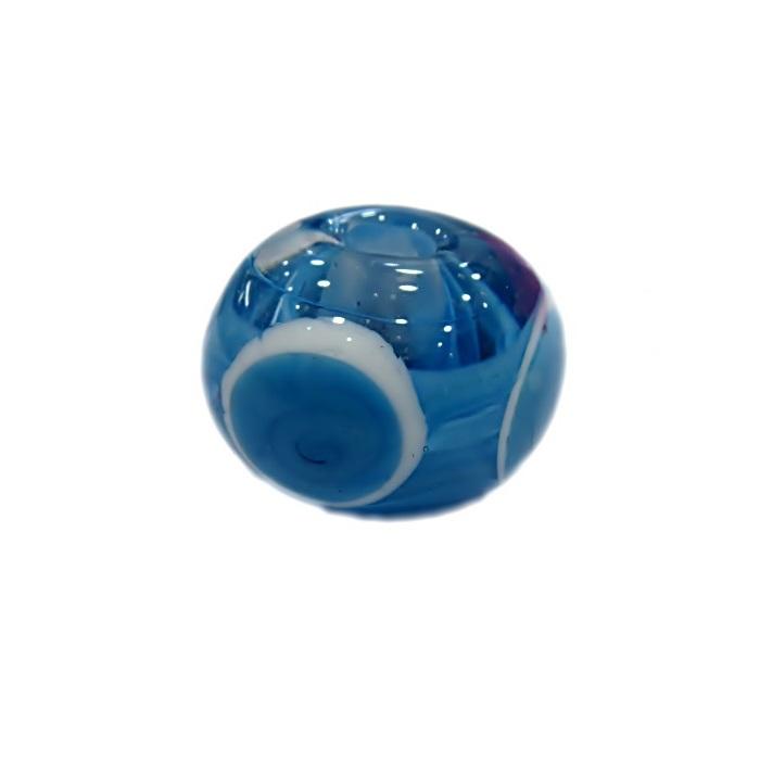Bola de murano G turquesa c\ circulos- MUD007