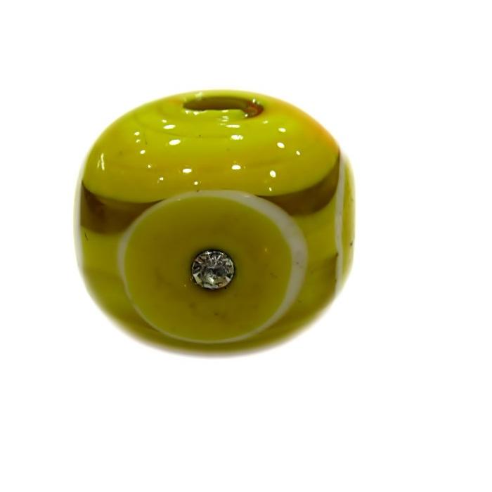 Bola de murano G amarela c\ strass- MUD013