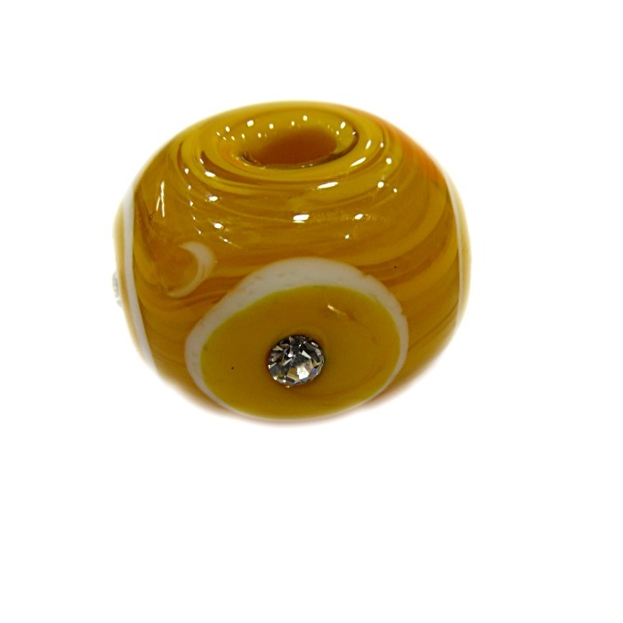 Bola de murano G amarelo gema c\ strass- MUD016