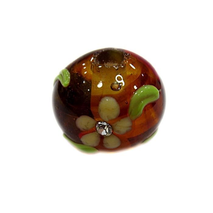 Bola de murano G ambar escura c\ flor- MUD022