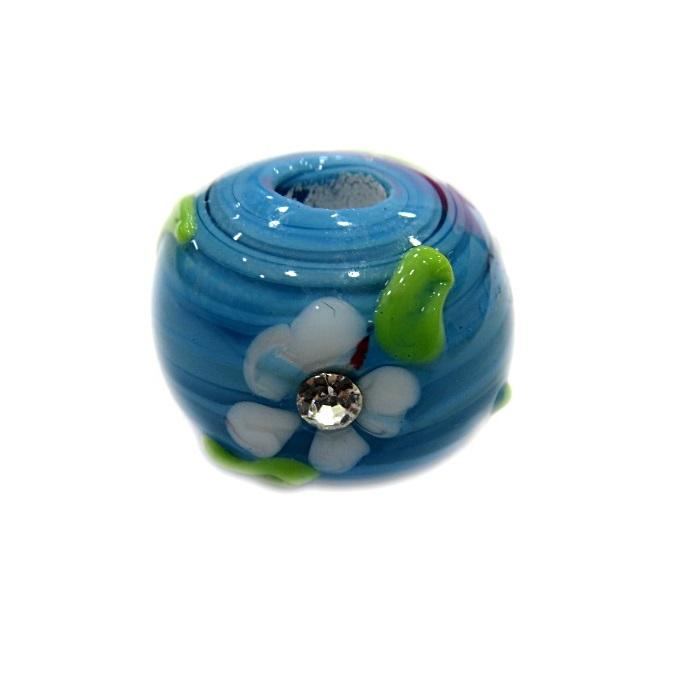 Bola de murano G turquesa c/ flor- MUD024