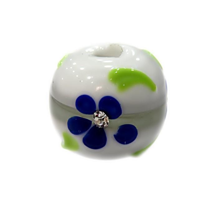Bola de murano G branca c/ flor- MUD031