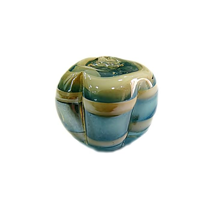 Pitanga de murano G azul turquesa/ branco irisado- MU422
