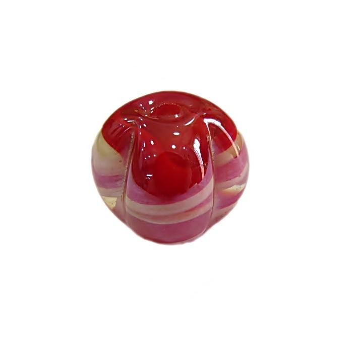 Pitanga de murano G vermelho/ branco irisado- MU429