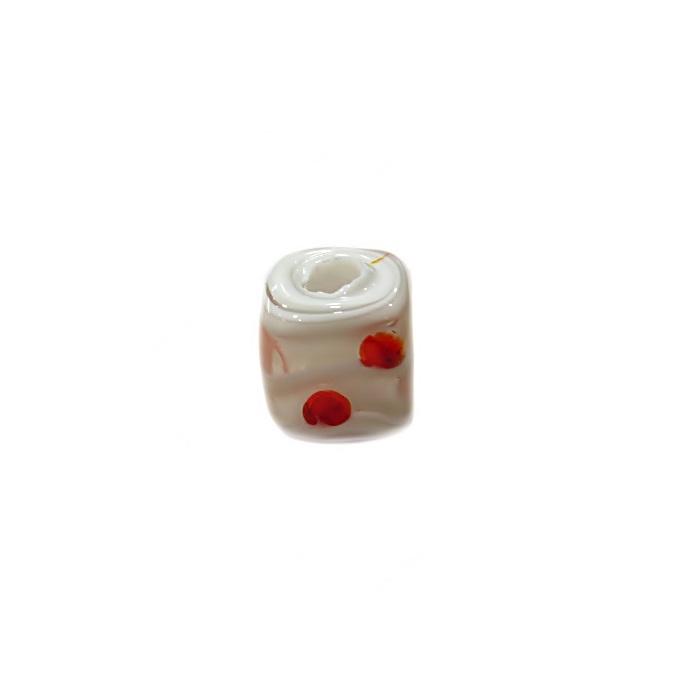 Dado de murano branco/ vermelho- MU471