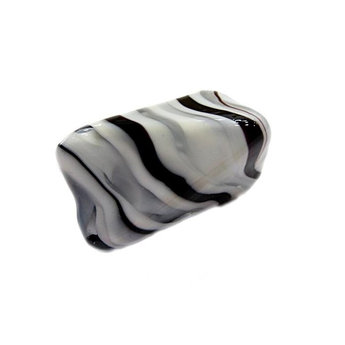 Facetado de murano GG branco/ preto- MU490