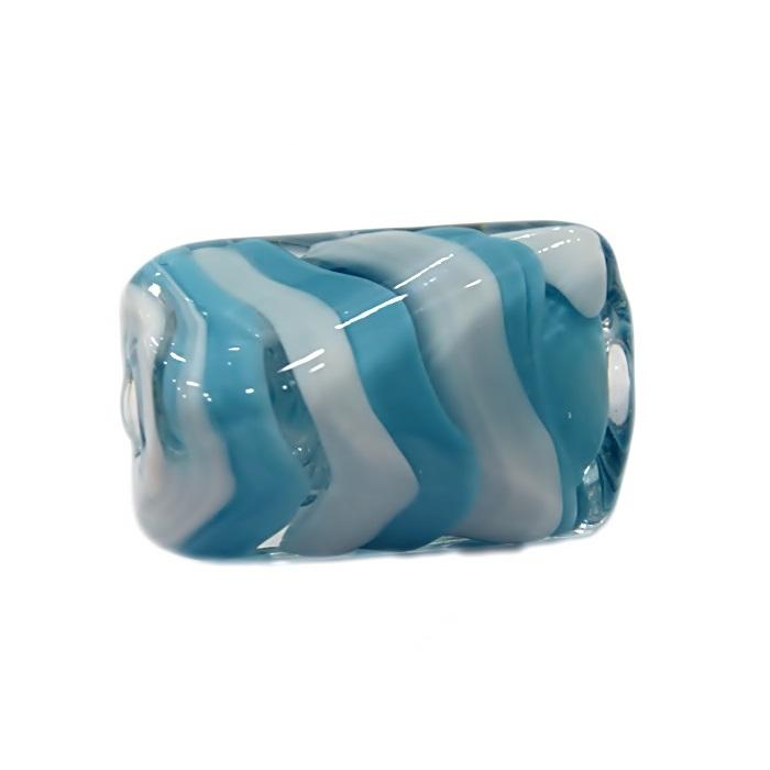 Facetado de murano GG branco/ azul turquesa cristal- MU491