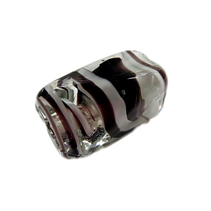 Facetado de murano GG branco/ preto cristal- MU495