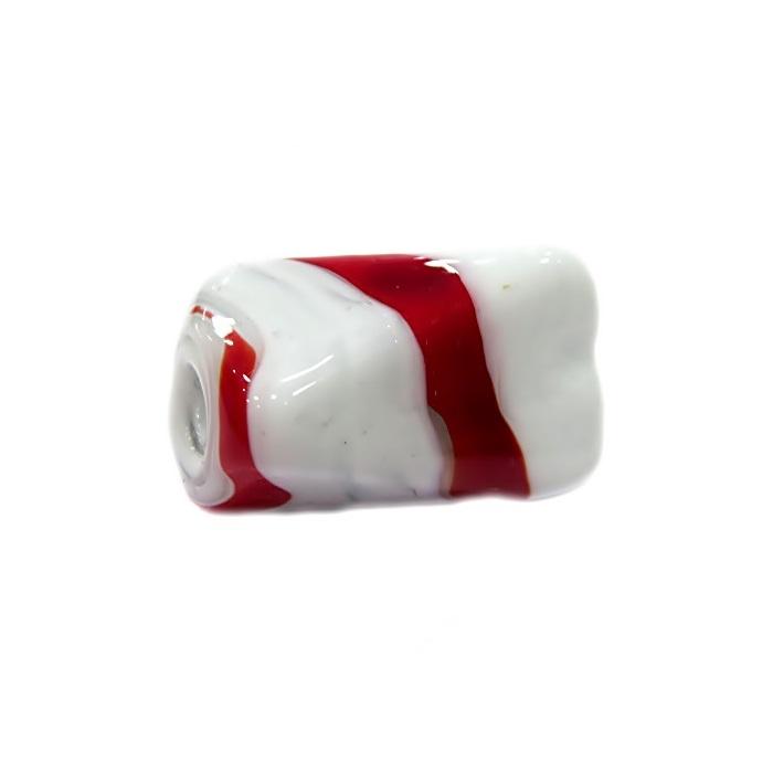 Facetado de murano GG branco/ vermelho- MU496
