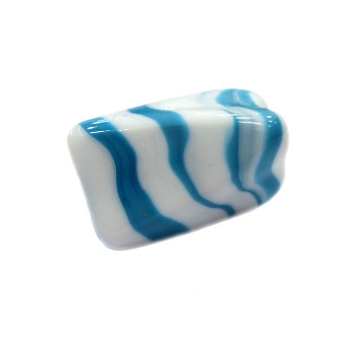 Facetado de murano GG branco/ azul turquesa leitoso- MU500