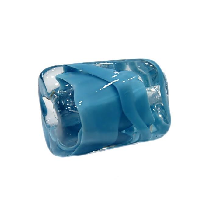 Facetado de murano GG azul turquesa c/ cristal- MU514