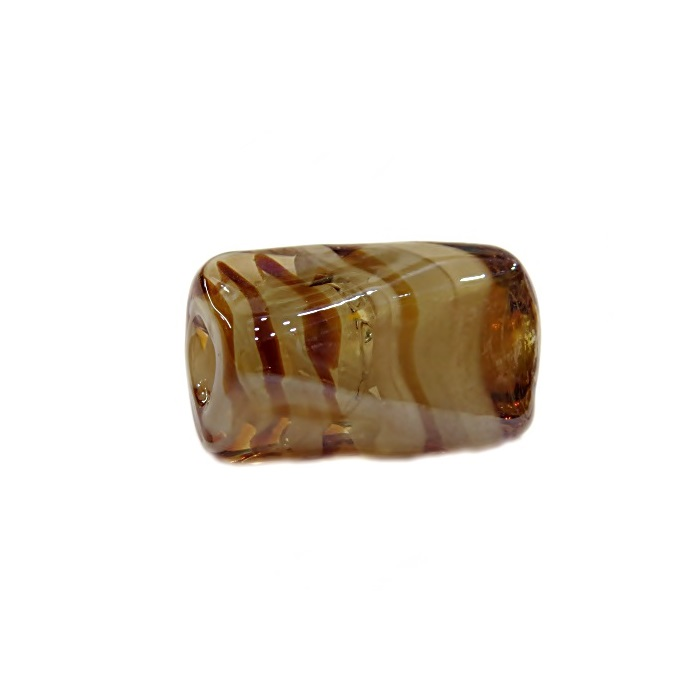Facetado de murano G ambar/ branco irisado- MU531