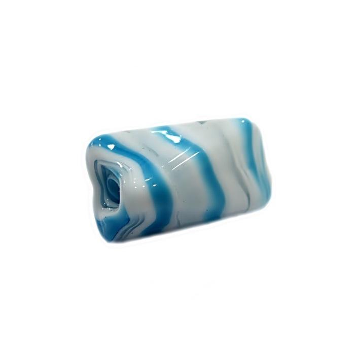Facetado de murano G branco/ azul turquesa -MU541