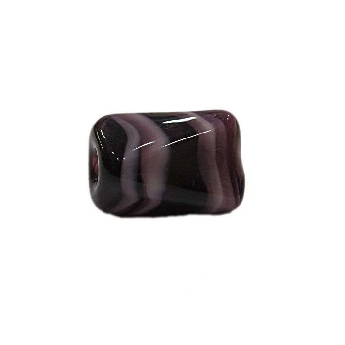 Facetado de murano G roxo/ branco- MU556