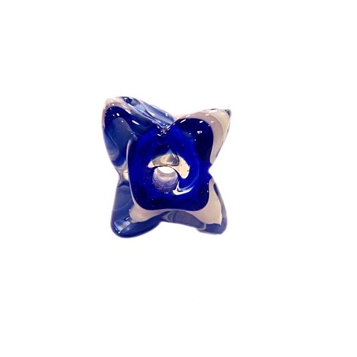 Estrela de murano azul/ branco- MU590