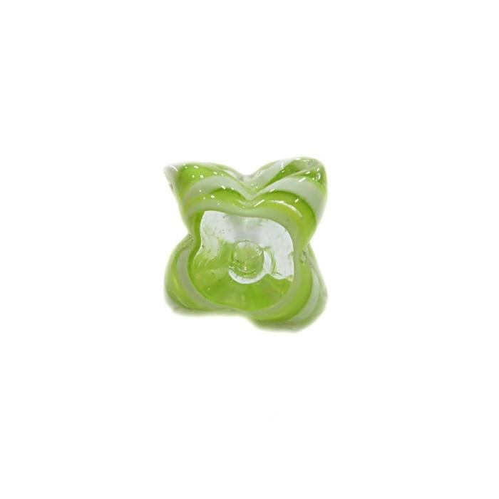 Estrela de murano verde pistache/ branco - MU597