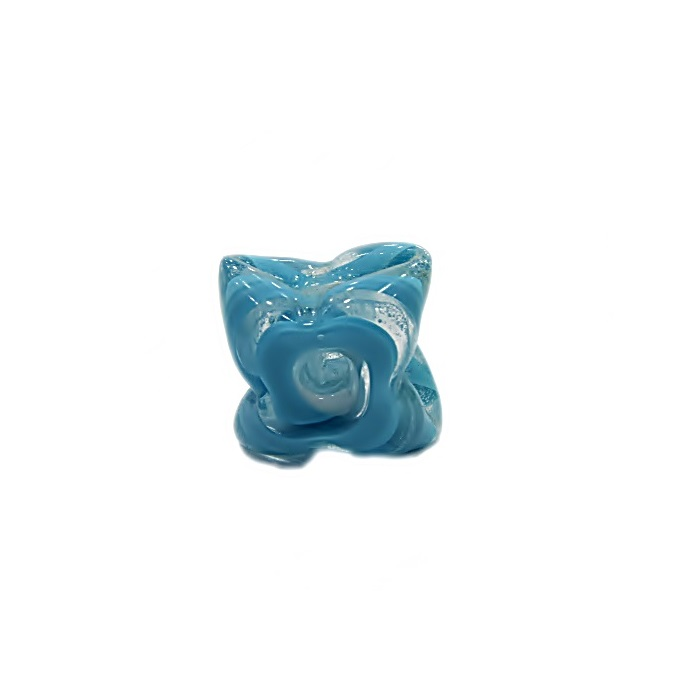 Estrela de murano azul turquesa/ branco - MU601