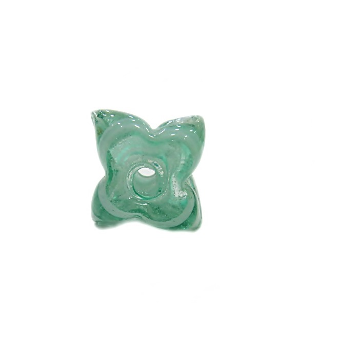 Estrela de murano verde/ branco- MU602