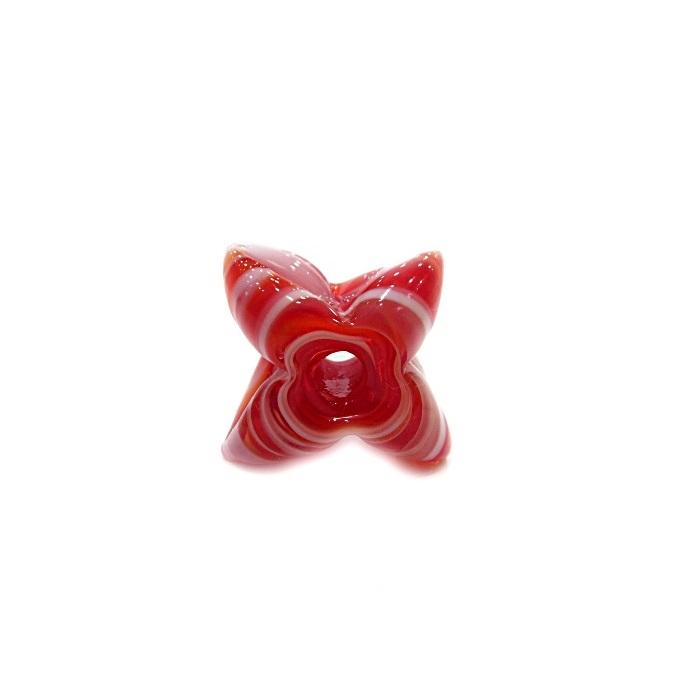 Estrela de murano vermelho/ branco - MU603