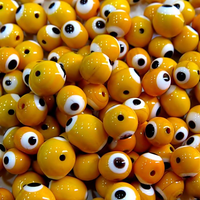 Olho grego amarelo gema Nº 08 (20 unidades)- OG034