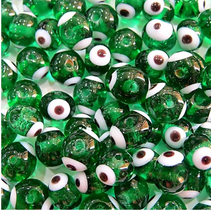 Olho grego verde transparente Nº 10 (20 unidades)- OG049
