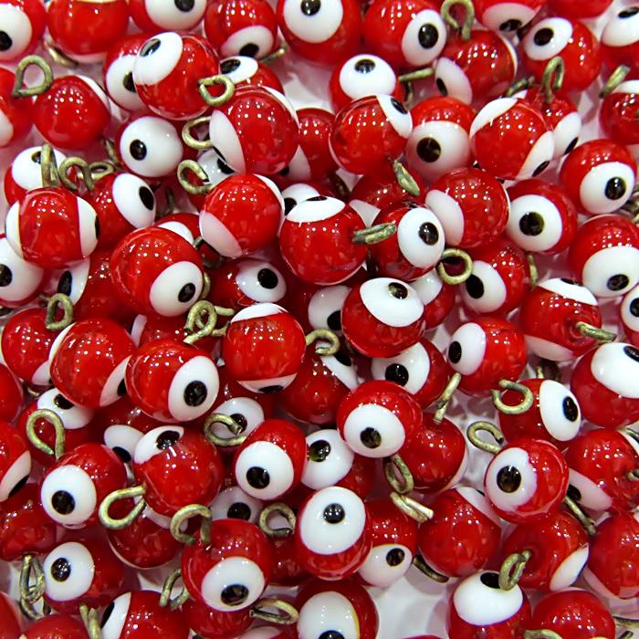 Olho grego pingente vermelho (500 unidades)- OGP004 ATACADO