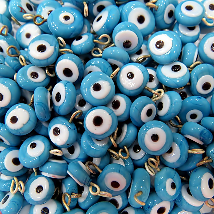 Olho grego achatado pingente azul turquesa -(500 unidades)- OGP010 ATACADO