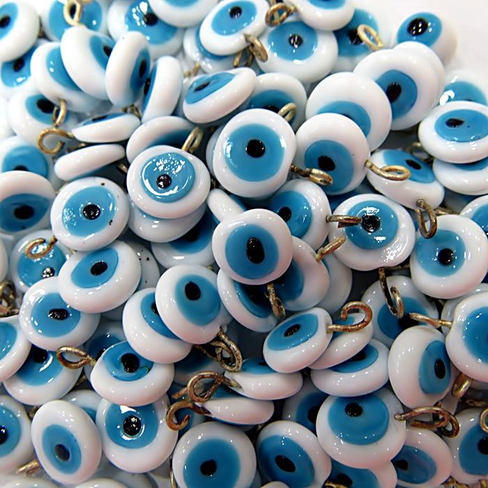 Olho grego achatado pingente branco (500 unidades)- OGP011 ATACADO