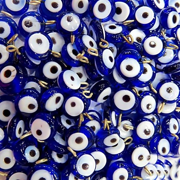 Olho grego achatado pingente azulão -(500 unidades)- OGP013 ATACADO