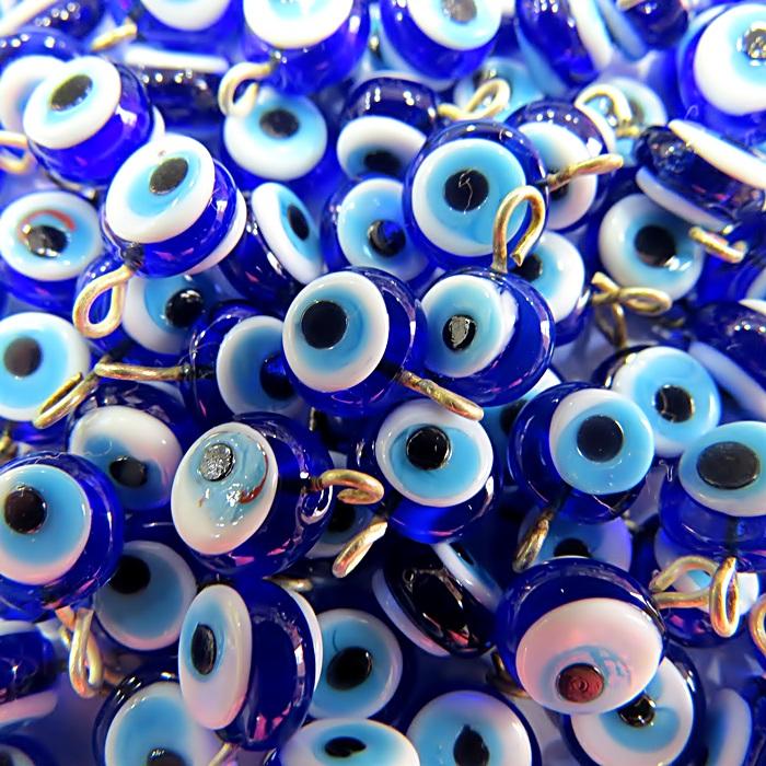 Olho grego achatado pingente azulão/ turquesa pequeno- (100 unidades)- OGP020 ATACADO