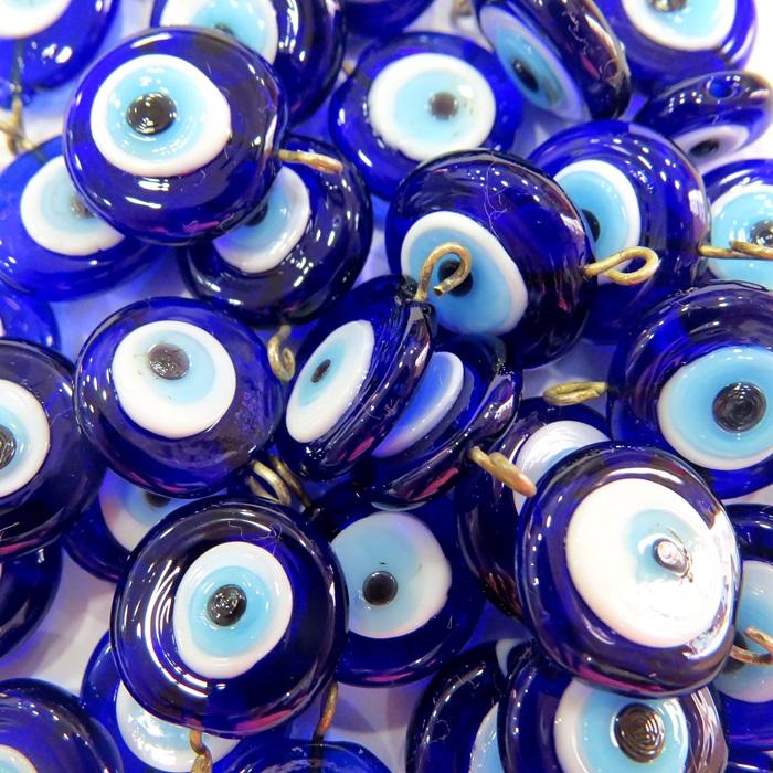 Olho grego achatado pingente azulão/ turquesa grande (05 unidades)- OGP021
