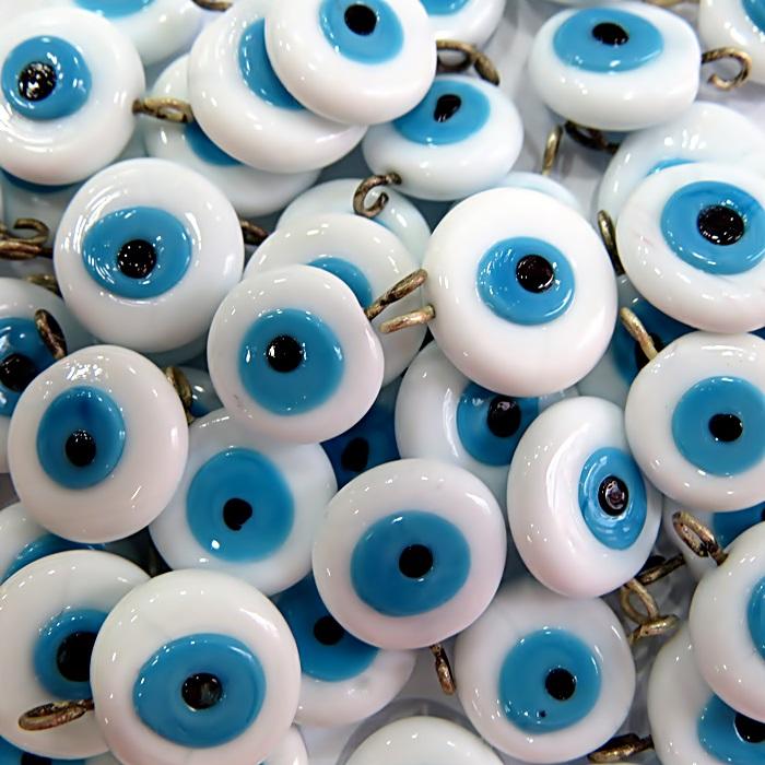 Olho grego achatado pingente branco/ turquesa grande- (100 unidades)- OGP023 ATACADO