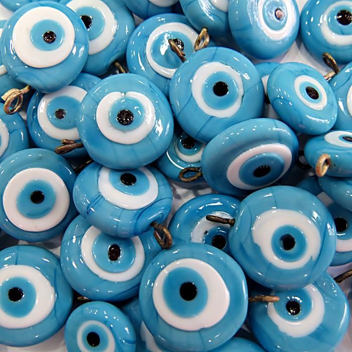 Olho grego achatado pingente azul turquesa/ turquesa grande- (05 unidades)- OGP024