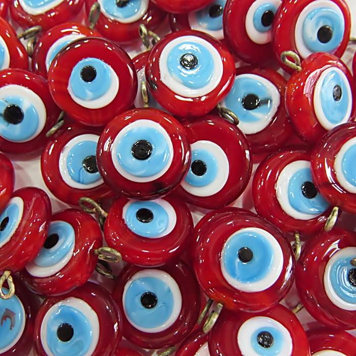 Olho grego achatado pingente vermelho/ turquesa grande- (100 unidades)- OGP025 ATACADO