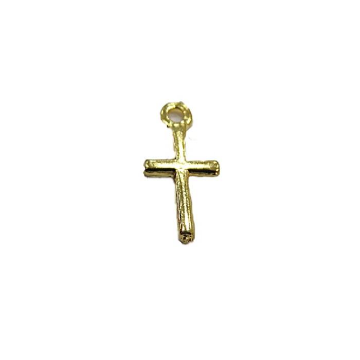 Pingente Dourado Mini- Cruz -10 peçasPDT055