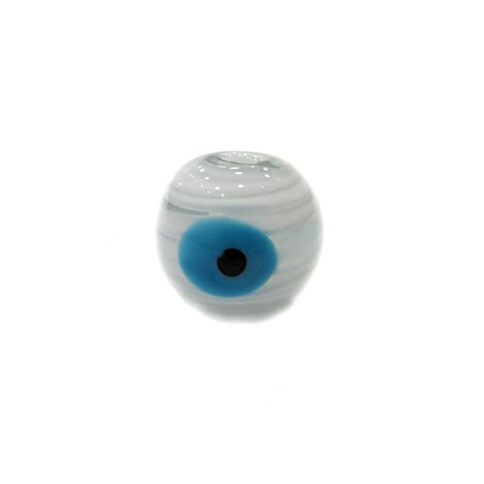 Olho grego M branco/ turquesa- OG056