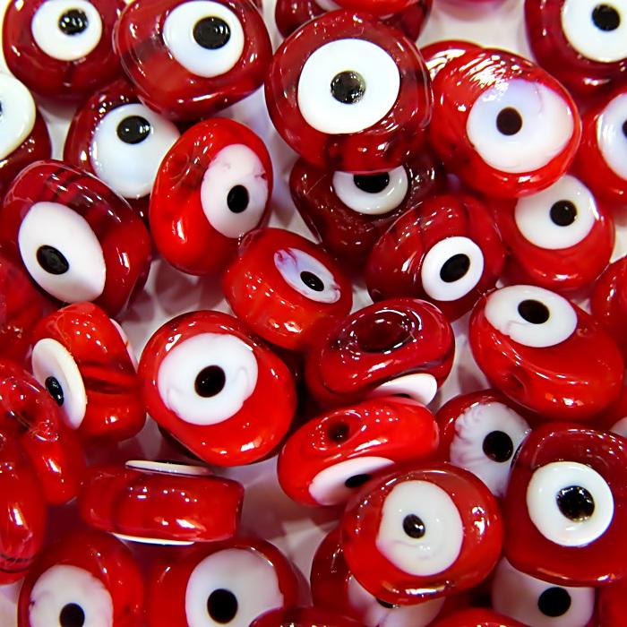 Olho grego entremeio achatado vermelho (20 unidades)- OGE004