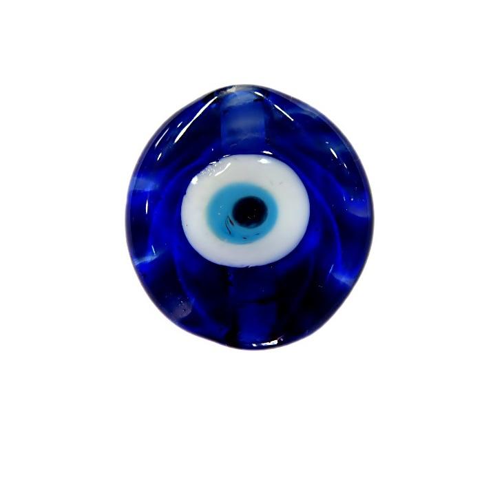 Olho grego entremeio achatado de murano redondo azulão- OGE010
