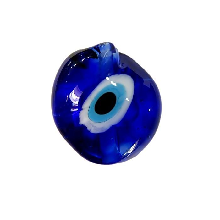 Olho grego entremeio achatado de murano torto azulão- OGE012
