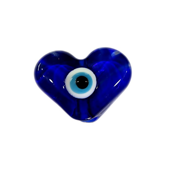 Olho grego entremeio achatado coração azulão- OGE013