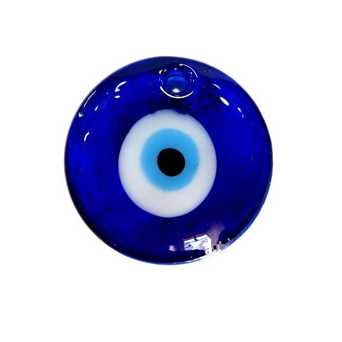 Olho grego pingente redondo G azulão- OGP017