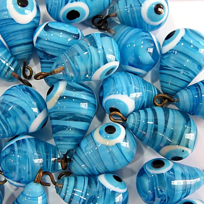 Olho grego pingente gota azul turquesa- OGP035
